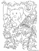 Animals inside the jungle coloring page