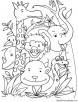 Happy animals coloring page