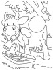 Happy mother cow coloring page