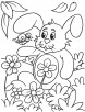 Rabbit with beautifull flowers coloring page
