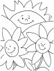 Happy flowers coloring page