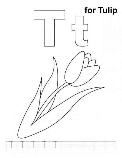 T for tulip coloring page with handwriting practice