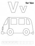 V for van coloring page with handwriting practice