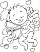 Ready to shoot Cupids arrow coloring page