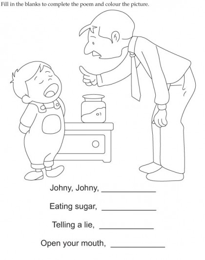 Johny Johny Yes Papa worksheet