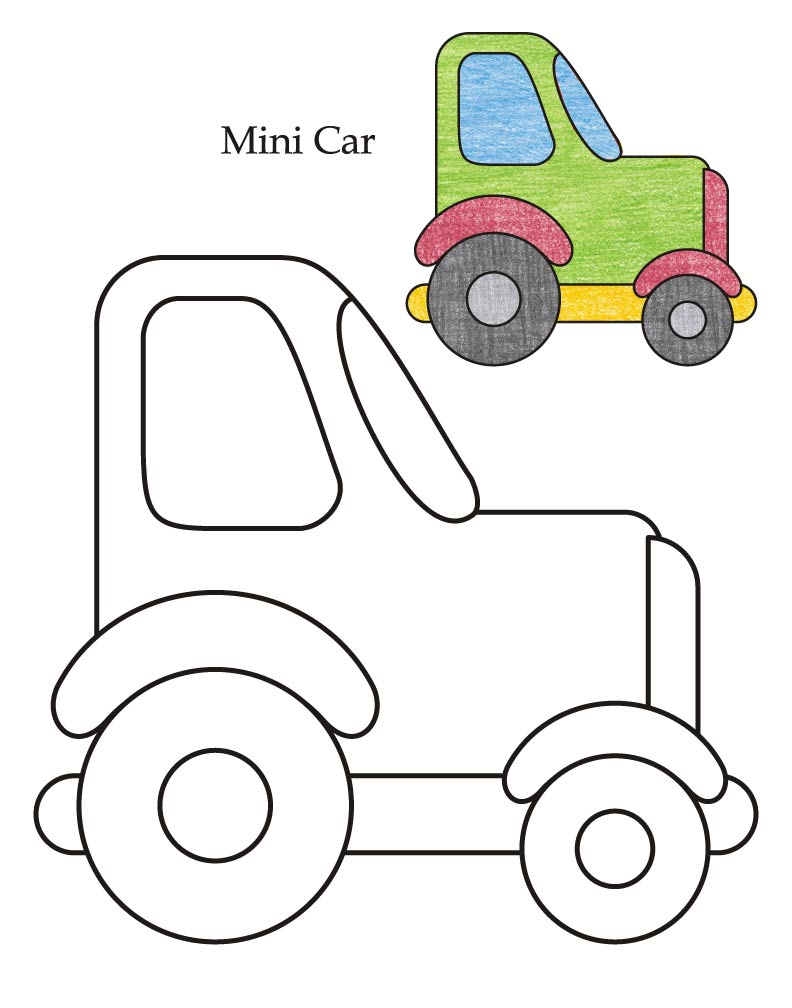 0 Level mini car coloring page