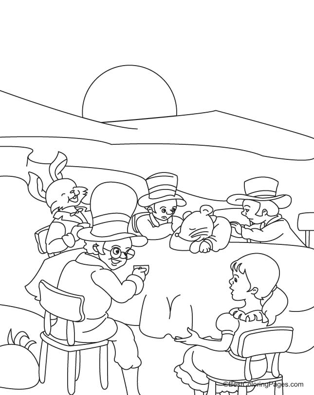 Alice at tea party coloring page