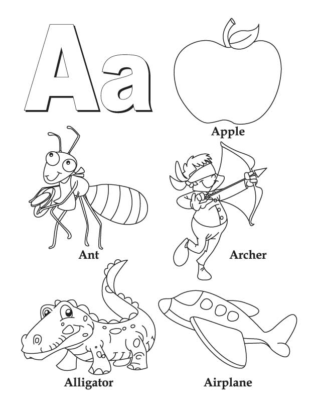 My a to z coloring book letter a coloring page download for A z coloring pages