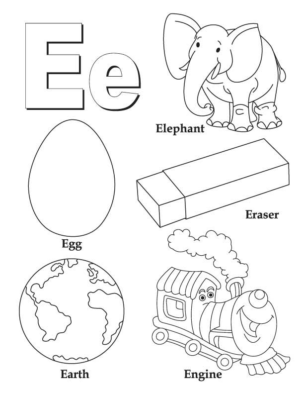 My A to Z Coloring Book Letter E coloring page Download Free My