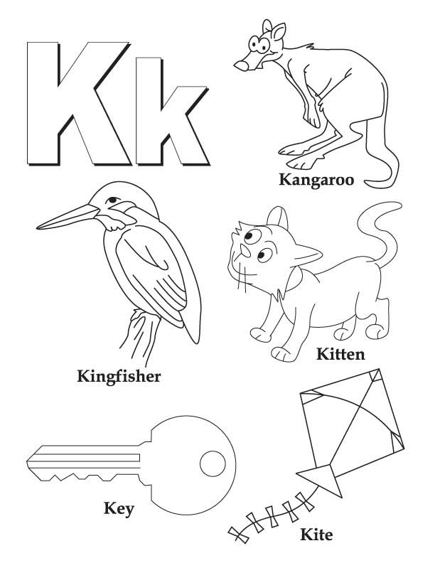 my a to z coloring book letter k coloring page