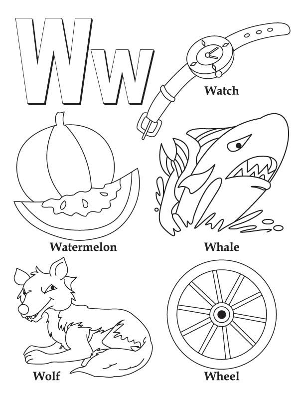 Alphabet Coloring Pages W : My a to z coloring book letter w page download