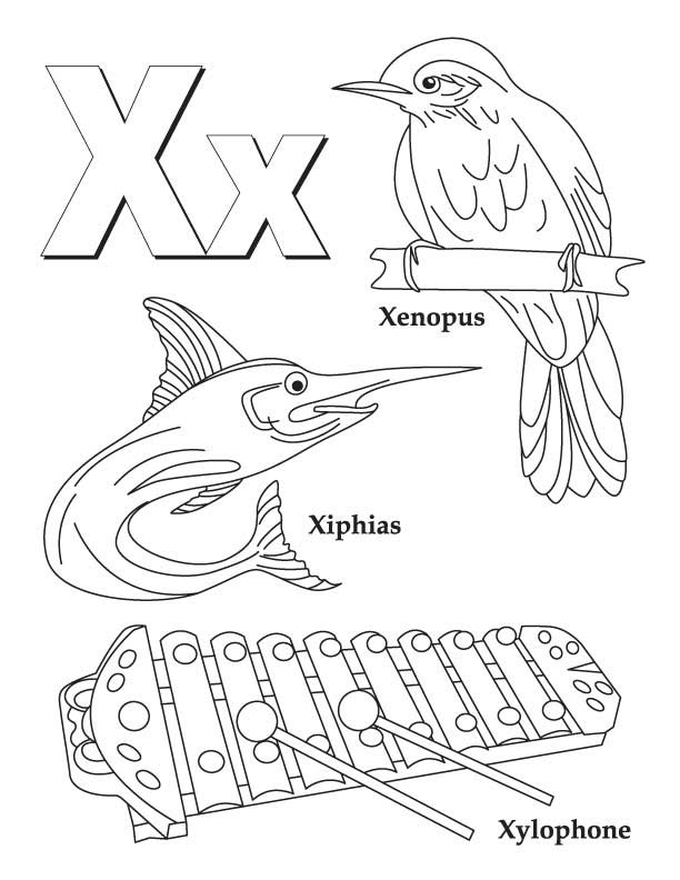 my a to z coloring book letter x coloring page download