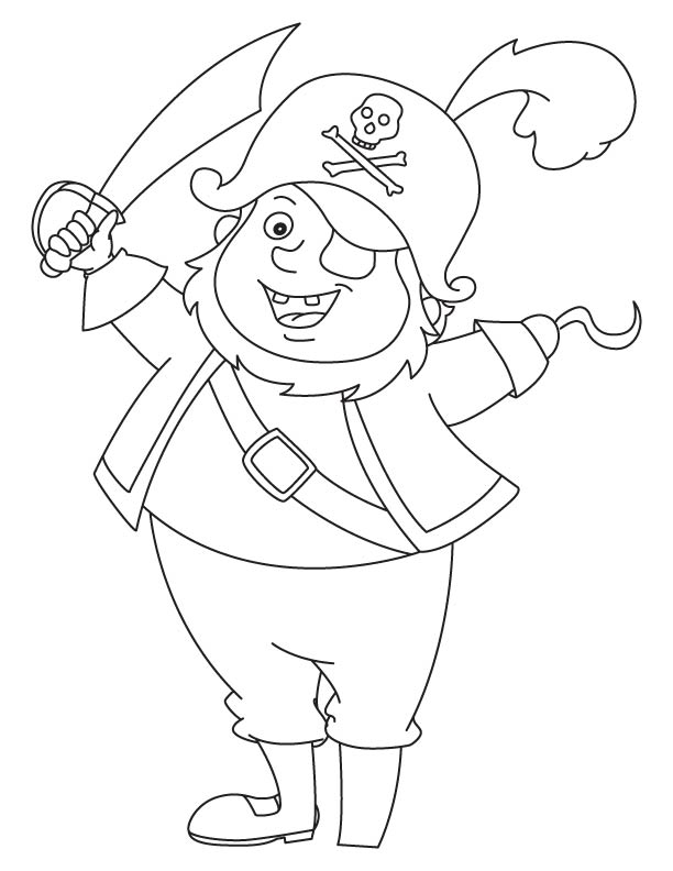 Funny pirate with weapon coloring page