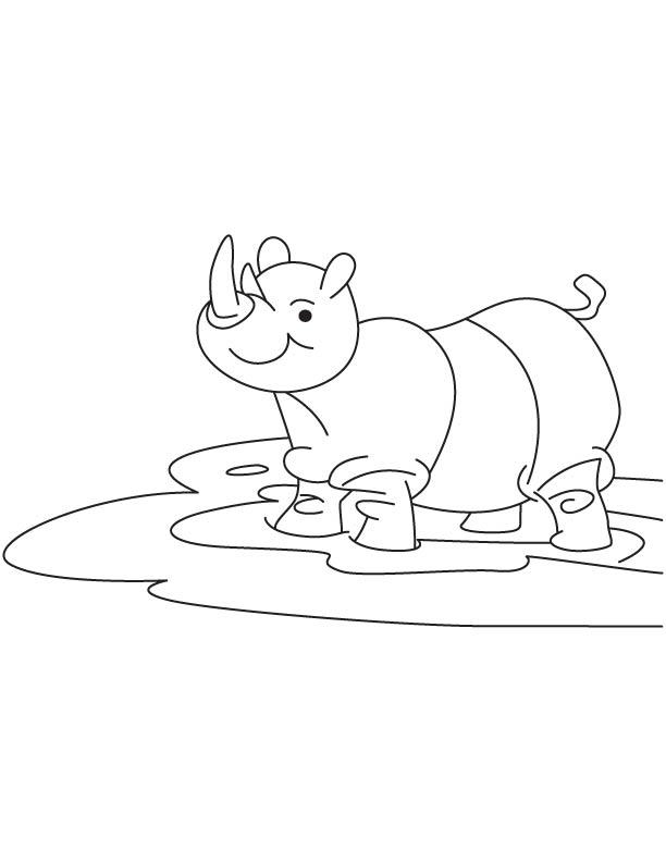 Baby rhinoceros coloring page