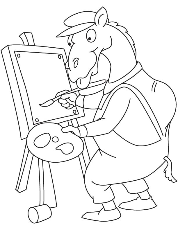 Camel painting coloring page