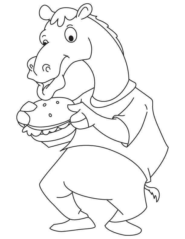 Camel eating hamburger coloring page | Download Free Camel eating ...
