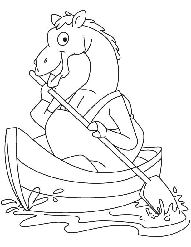 Camel enjoying boating coloring page