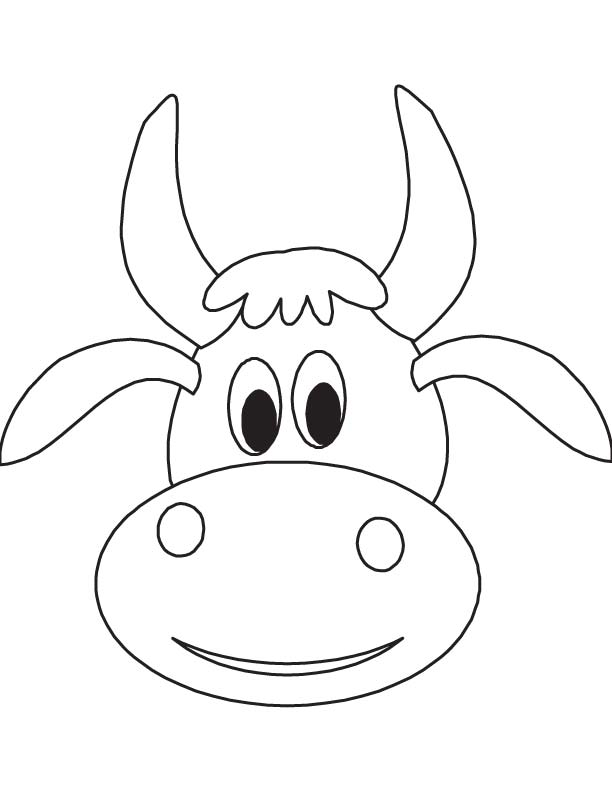 Cute Cow Face Drawing Cute Cow Face Coloring Page
