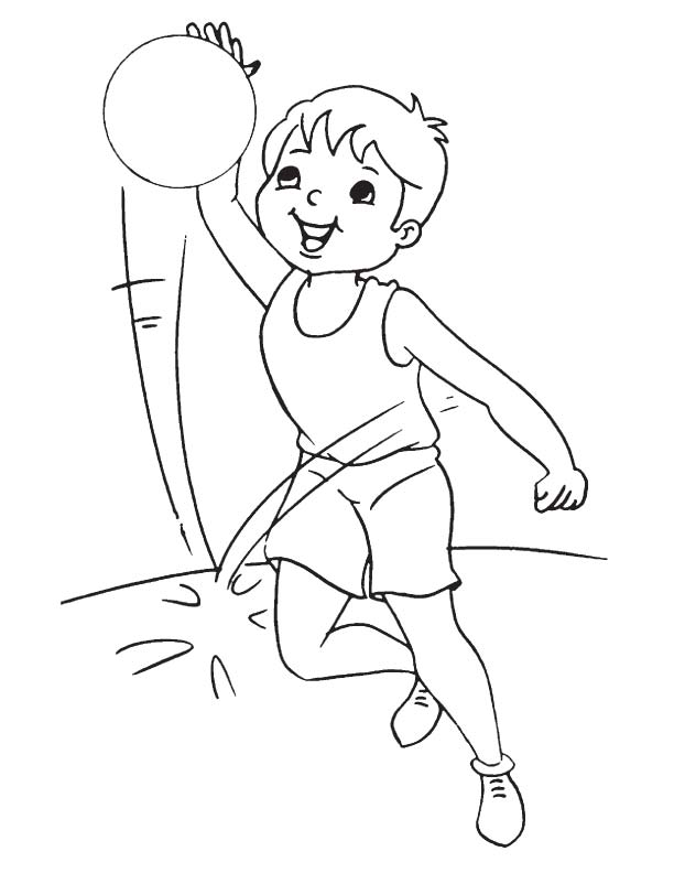 Basketball practice coloring page
