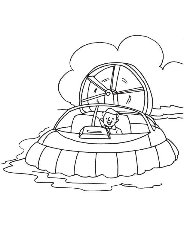 Printable hovercraft coloring page