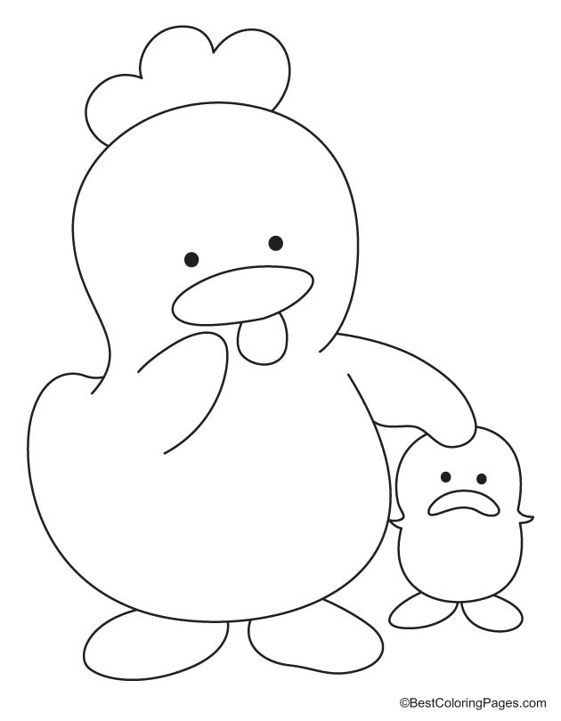 Hen walking with chick coloring page