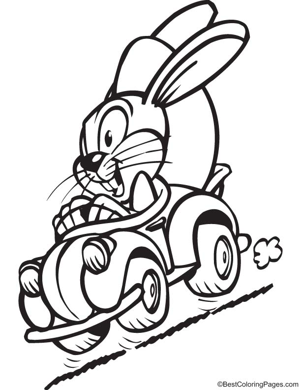Bunny in hurry coloring page