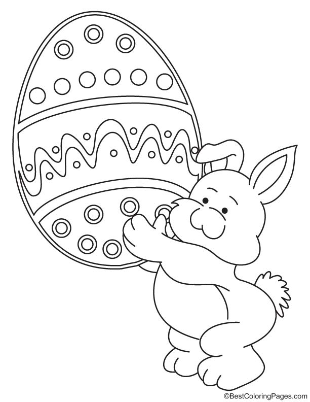 Bunny with huge egg coloring page