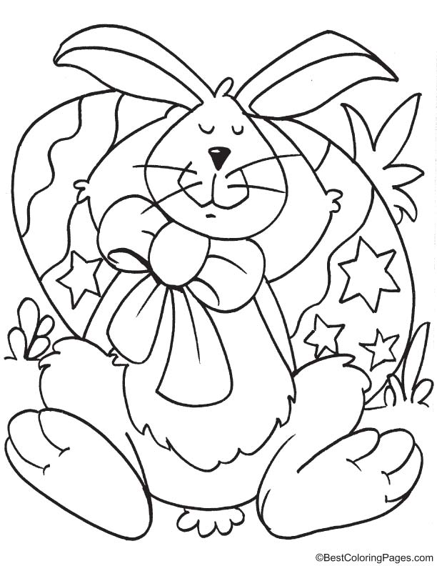 Easter bunny sleeping coloring page