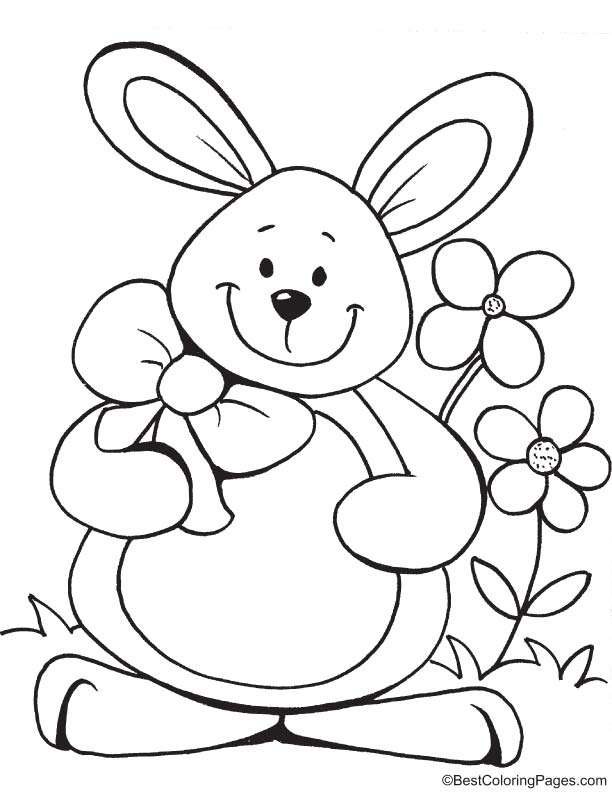 Happy bunny on easter coloring page