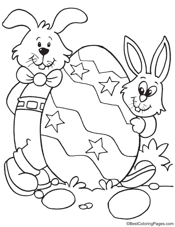Two bunny with egg coloring page