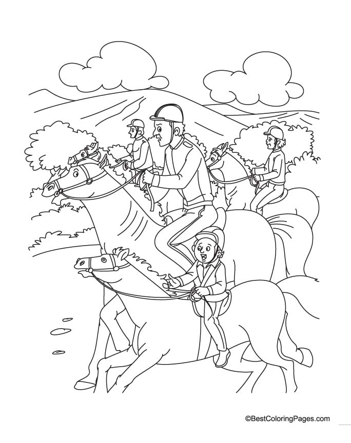 Horse racing coloring picture