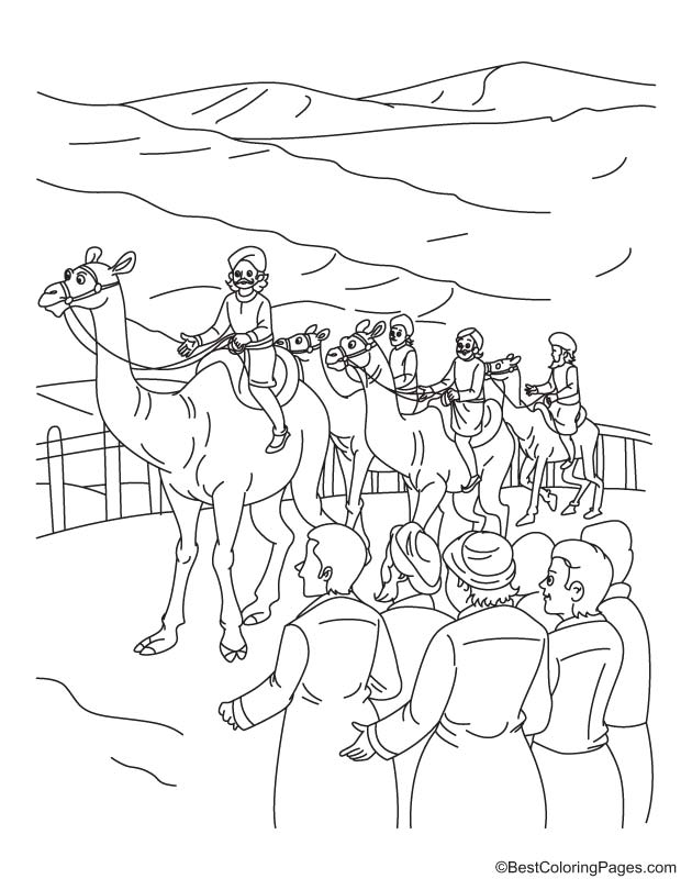 Camel riding coloring pages