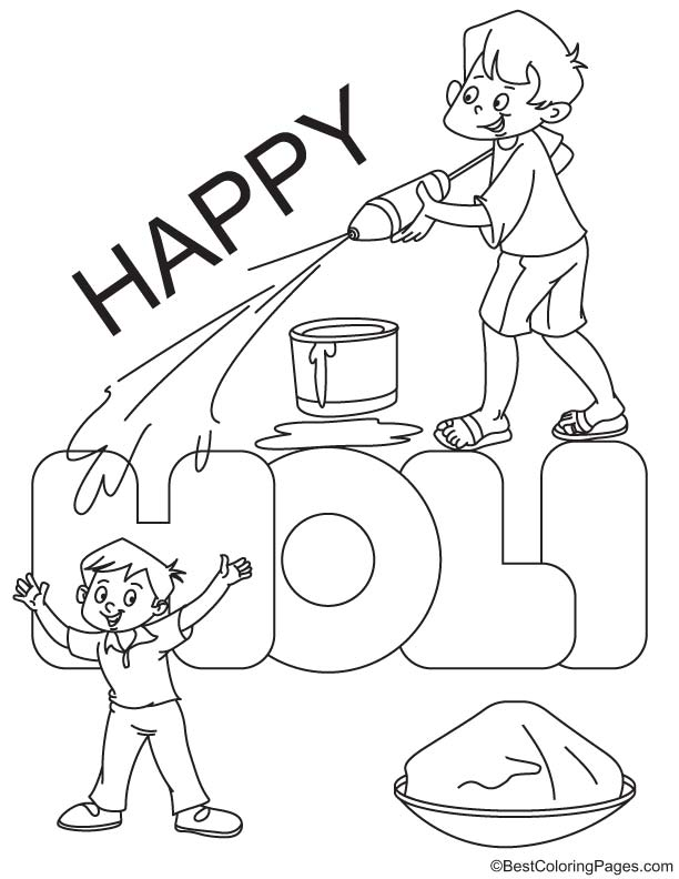 Happy holi coloring page | Download Free Happy holi coloring page ...