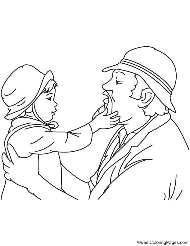 Touching grandpa beard coloring page