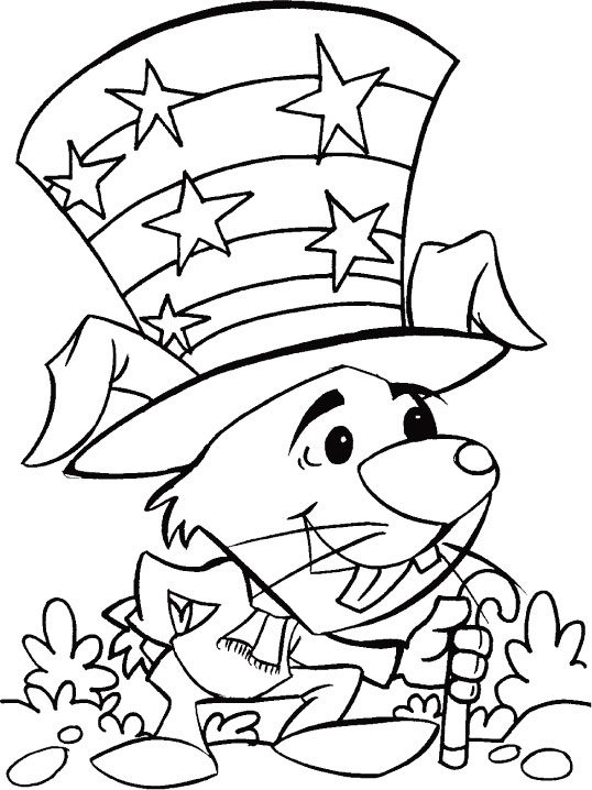 Mouse Dressed Up For The 4th Of July Celebration Coloring