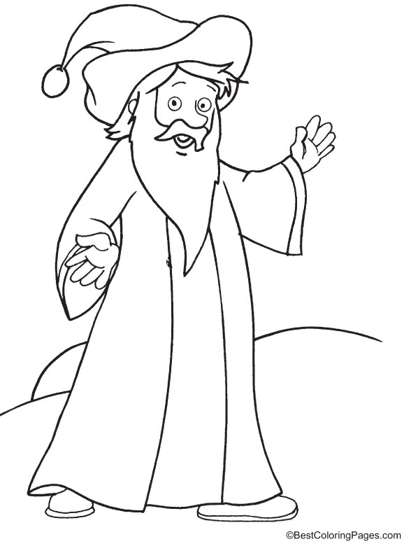 A simple wizard coloring page