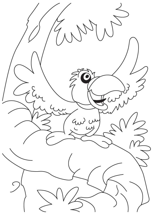 A talkative parrot coloring page