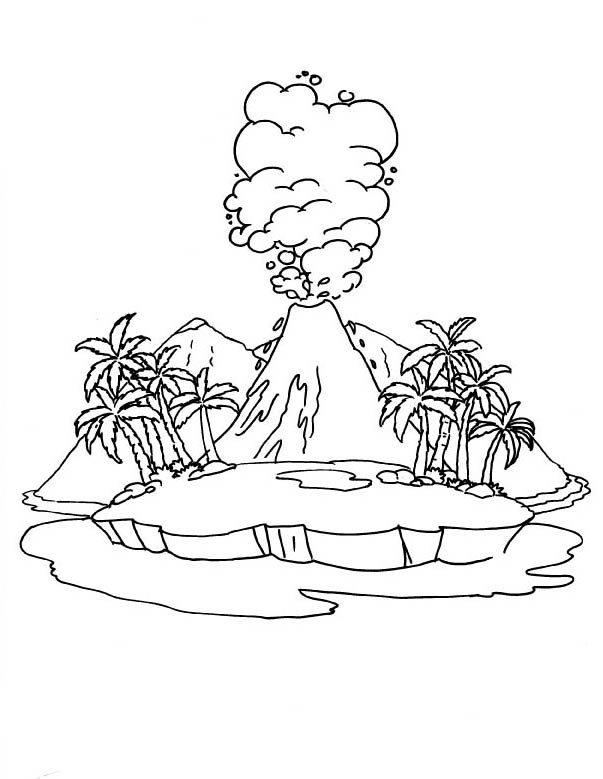 Active Volcano Coloring Page Download Free Active