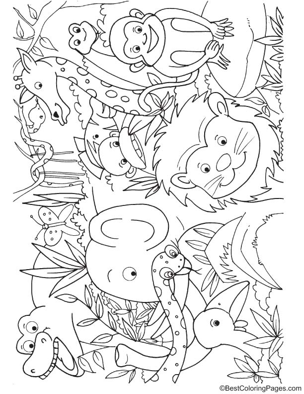 Animals in jungle coloring page