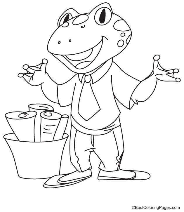 Architect frog coloring page