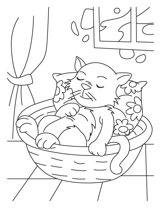 Cat in dreamland coloring pages