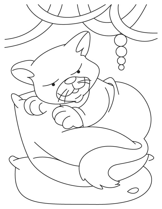 Cat under cart coloring page