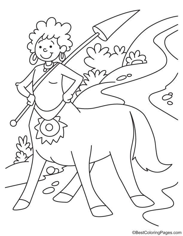 Centaur smiling coloring page