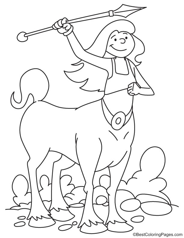 Centaur throwing spear coloring page