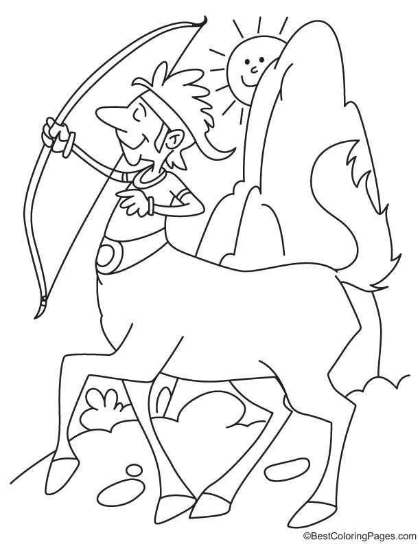 Centaur with a bow and arrow coloring page