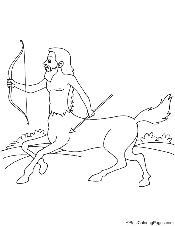 Centaur with bow and arrow coloring page