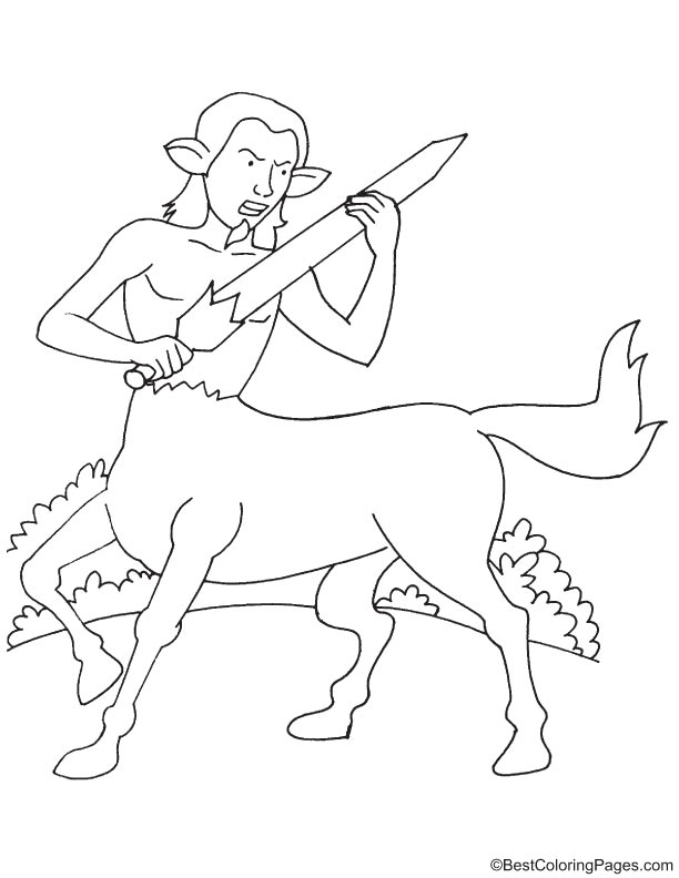 Centaur with sword coloring page