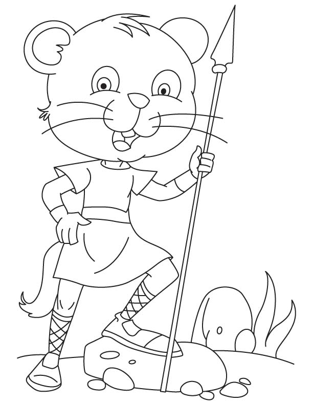 Courageous cat with spear coloring page