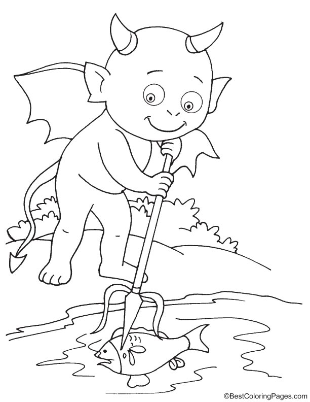 Devil fishing coloring page