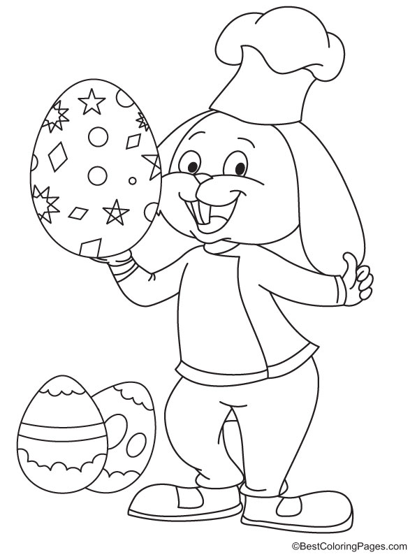 Easter bunny holding egg colouring page